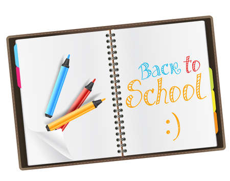 open diary: open diary with back to school quote and color markers. vector illustration