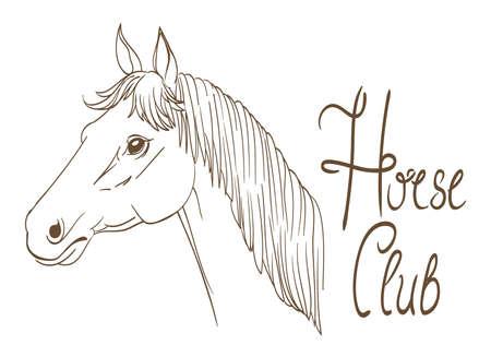 horse head club symbol line art drawing. vector