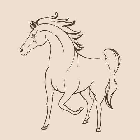 pencil drawings: running horse line art drawing. vector Illustration