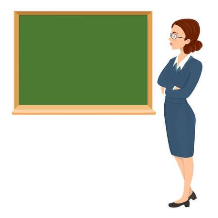 profesor alumno: Profesor de la mujer joven con gafas y fondo de pizarra. ilustración de dibujos animados de vectores