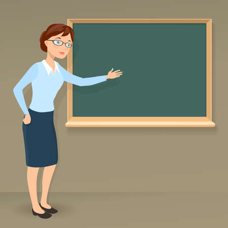 blank chalkboard: young female teacher showing on blank chalkboard. vector cartoon illustration on education or business theme
