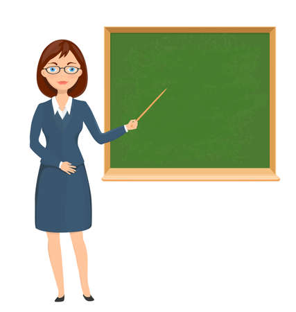 school classroom: Young female teacher pointing on chalckboard. education theme cartoon illustration. vector Illustration