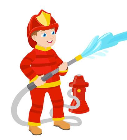 borne fontaine: bande dessinée jeune pompier illustration vectorielle