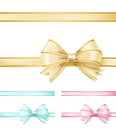set of soft color bows ribbons on white. design decorative elements vector illustration