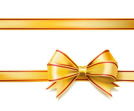 bright golden ribbon bow on white. vector Illustration