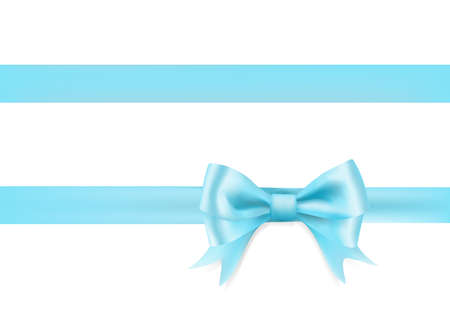 light blue ribbon bow knot on white. vector illustration