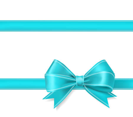 aqua blue ribbon bow background. decorative design elements vector illustration