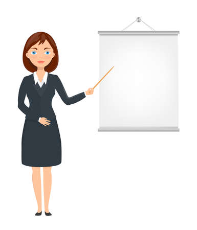 businesswoman skirt: cartoon business lady pointing on presentation screen