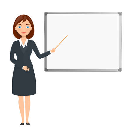 blank board: business woman presenting on white blank board Illustration