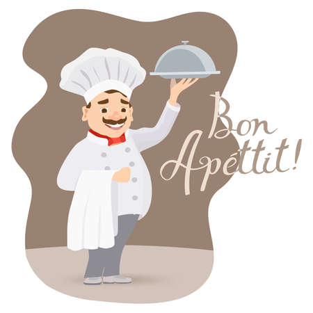 cartoon happy chef character holding a platter or cloche with bon apettit message