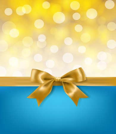 wraps: arco de la cinta de oro sobre fondo azul y efectos de luz. vector plantilla de diseño