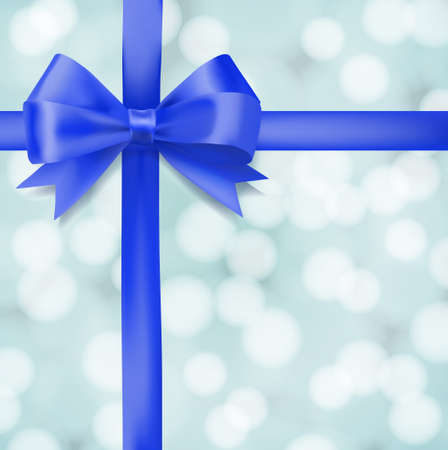 woven: blue ribbon bow on blurry background. greeting vector design template Illustration