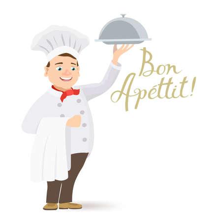 happy chef: cartoon happy chef holding a platter with bon apettit message Illustration