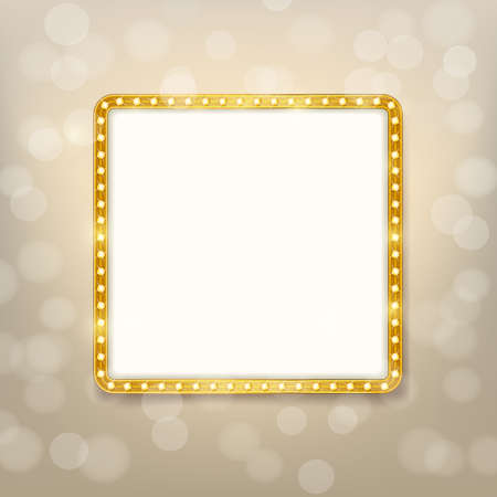 shining light: cinema golden square frame with shining light bulbs on blurry background. vector illustration