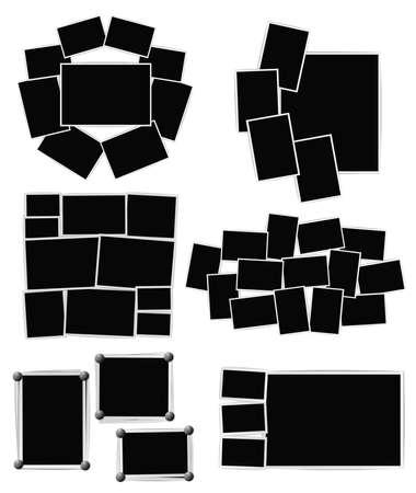 写真のフレームの組成物は、白い背景の設定。ベクトルのデザイン テンプレート