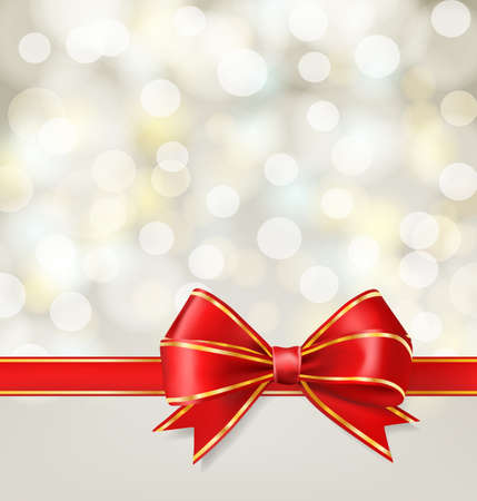 red ribbon bow with gold on blurry holiday background. vector decorative design elements