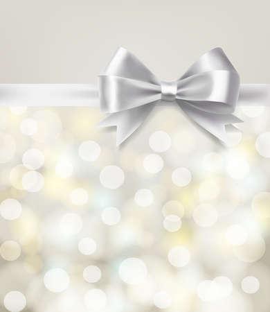 bodas de plata: cinta del arco de plata en el fondo bokeh borrosa. vector plantilla de diseño Vectores