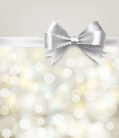 silver: silver bow ribbon on blurry bokeh background. vector design template