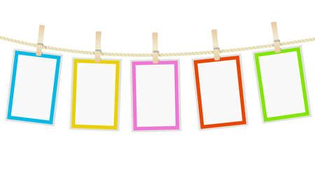 foto frames opknoping op een touw met wasknijpers. vector