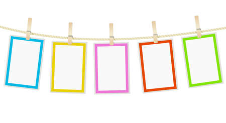 photo frames hanging on a rope with clothespins. vector Zdjęcie Seryjne - 63080177