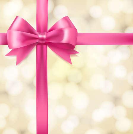 lazo rosa: arco de la cinta de color rosa sobre fondo borroso. vector plantilla de diseño de felicitación