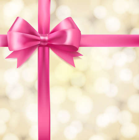 gift ribbon: pink ribbon bow on blurry background. greeting vector design template
