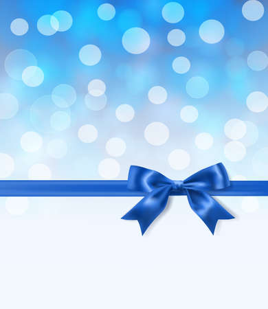 royal blue silky bow and ribbon border on light effects blurry background. vector illustration