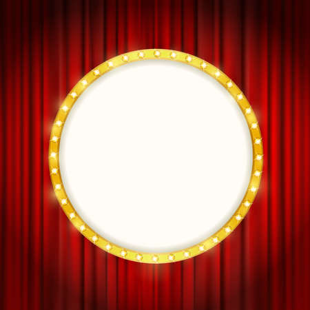shining light: cinema golden round frame with shining light bulbs on red curtains background. vector illustration