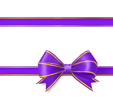 bow ribbon: violet with gold ribbon bow on white. vector illustration Illustration
