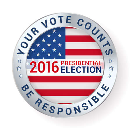 2016 presidential elections badge with metallic border. vector