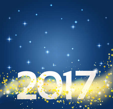 new years background: night with stars background and 2017 number. vector illustration