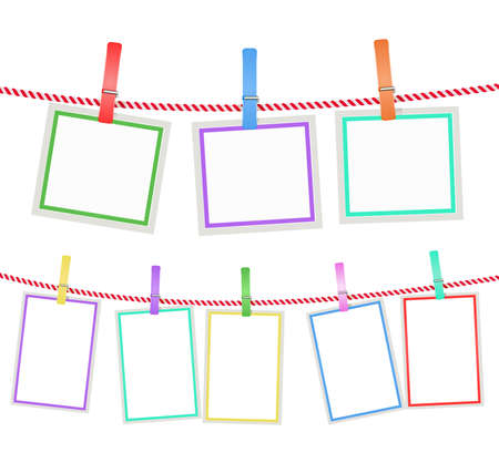 clothes pin: multicolored blank photo frames hanging on a rope with clothespins. vector
