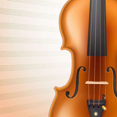 artistry: violin on musical sheet background. vector illustration