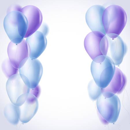 blue violet: blue and violet balloons borders background. vector illustration