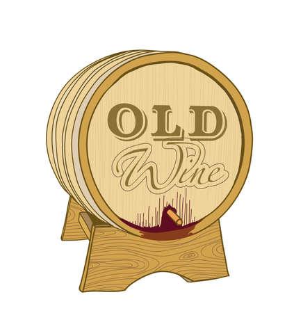 ferment: old wine wooden barrel on white. vector illustration Illustration