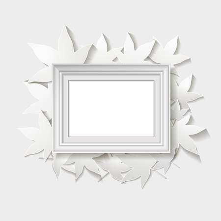 lasercutting: white frame with leaves. vector illustration