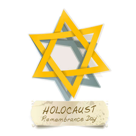 holocaust: yellow Star of David and Holocaust Remembrance Day vector illustration