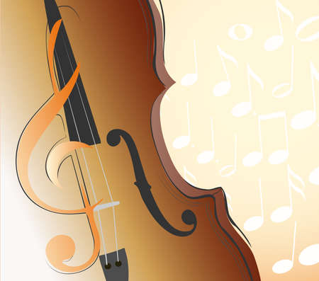 g clef: abstract violin, g clef and musical notes. vector illustration