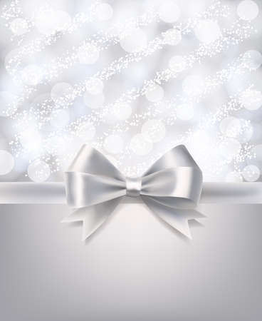 silver ribbon: abstract blurry background with bokeh, snow and silky silver ribbon. vector design celebration template