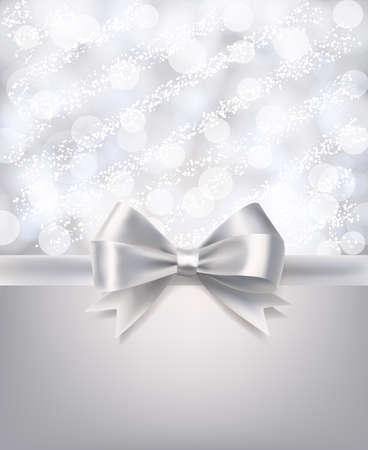 anniversario matrimonio: sfondo sfocato astratto con bokeh, neve e nastro d'argento setosa. vettore modello di progettazione celebrazione Vettoriali