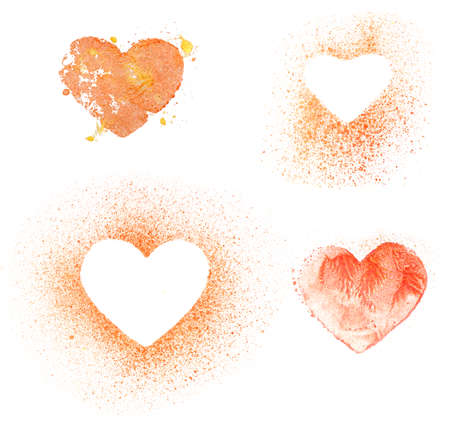 golden symbols: set of glittering metallic gouache hearts on white. hand painted golden and red abstract symbols Stock Photo