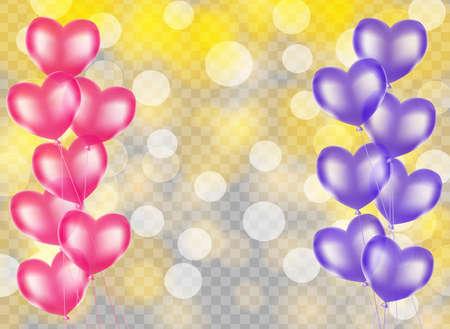 분홍색 및 보라색 심장 모양 풍선 테두리에 흐린 황금 노란색 배경. 벡터