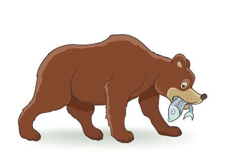 oso negro: Dibujo animado del oso marrón con los pescados en blanco