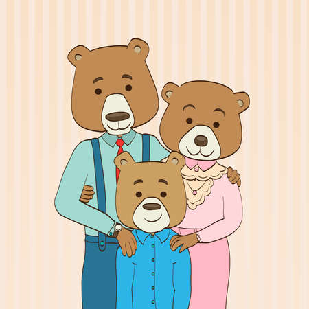 mixed family: Cartoon characters bear family illustration Illustration