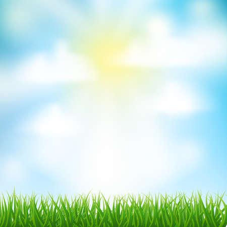 himmel hintergrund: Frühjahr Hintergrund mit Gras, Himmel und Wolken Illustration
