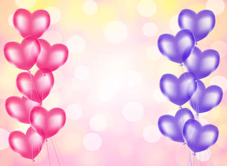 Heart shaped balloons borders on pink blurry light background Illustration
