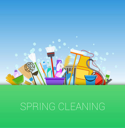 spring cleaning: spring cleaning tools and soap bubbles horizontal background.