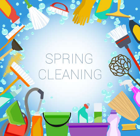 cleaning cloth: spring cleaning background with tools and bubbles Illustration
