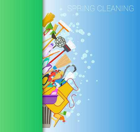 spring cleaning tools and soap bubbles vertical background.