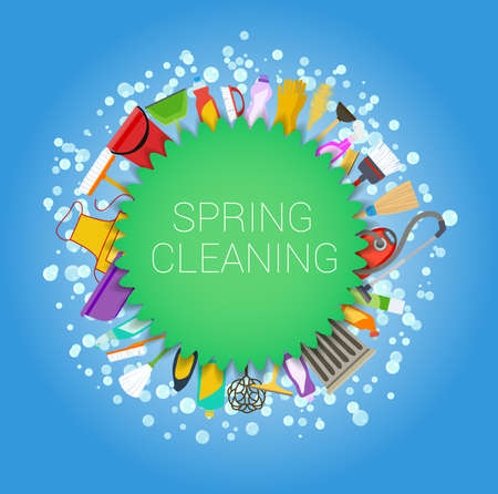 spring cleaning tools and soap bubbles round background.